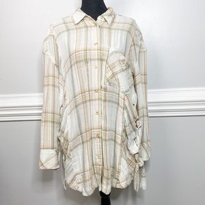 Free People Plaid Button Front Lace Up Tunic Top
